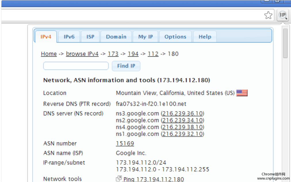 IP Address and Domain Information插件安装使用