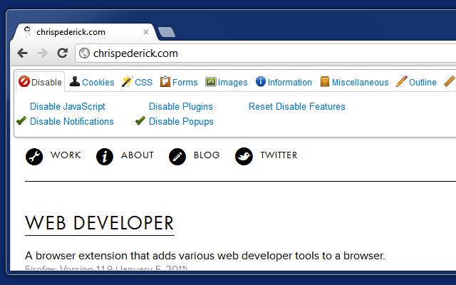 webdeveloper使用方法disable