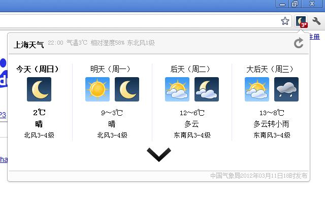 中国天气预报显示