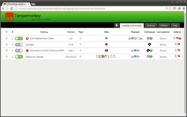 Tampermonkey:用户脚本管理器(油猴) Chrome插件图片