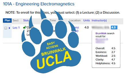 Easy BruinWalk Ratings (UCLA) v0.1.1